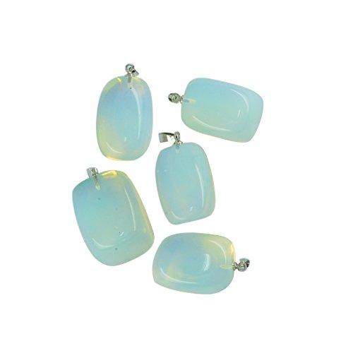 Sharplace Colgante de Piedra Preciosa Irregular para DIY Collar Pulsera Brazalete - 5 Pedazos - Piedra Lunar opalita