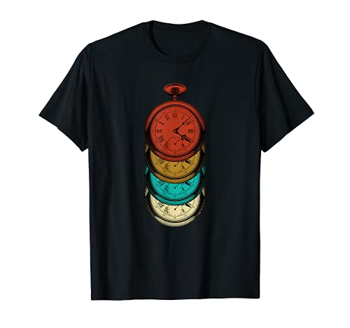 Reloj de bolsillo retro vintage multicolor Camiseta