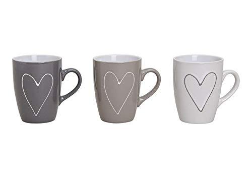 3er Kaffeetassen Set in 3 Farben - Modernes Design mit Herzen - Keramik Kaffee Tassen Groß in Grau, Beige und Weiss- 250 ml