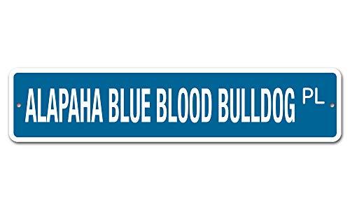 """Deerts 5059 SS Alapaha Blue Blood Bulldog 4"""" x 18"""" Novelty Street Sign Aluminum 1"""