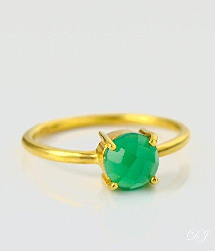 Women Ring Designer Ring Faceted Stone Ring Gold Stacking Ring Designer Ring Gold Plated Ring Green Onyx Ring Handmade Ring