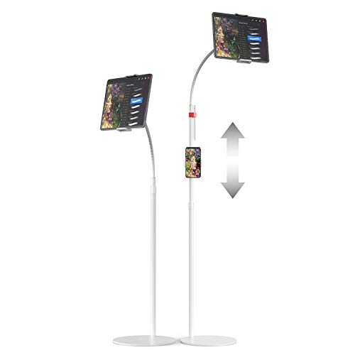 EURPMASK Tablet Floor Stand, Gooseneck Tablet Holder, Height Adjustable 43.3'–65', 360 Degree Rotating Tablet Mount with Extra Phone & Pen Holder for iPad, 4.7-13' Devices and All Smartphones