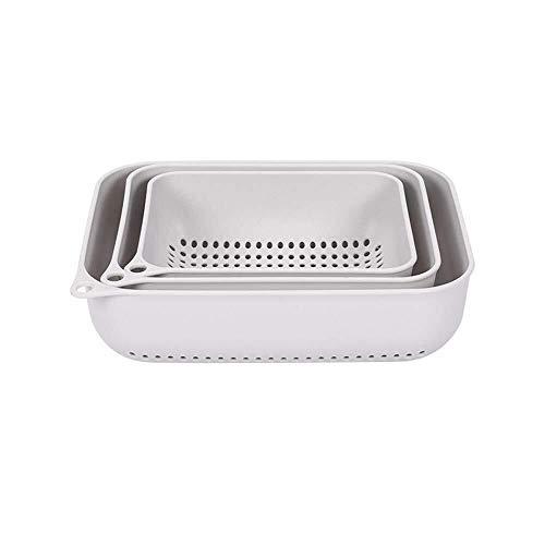 HJXSXHZ366 Tazón de cerámica Multifuncionales cestas de plástico rectangulares Creativa Limpieza de la Cocina de Drenaje Cesta de Filtro de la Cesta Cesta de Agua de Tres Piezas cestas de Frut