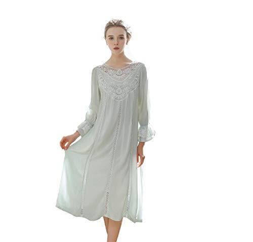 L&H Women's Vintage Victorian Sleepwear Long Sleeve Sheer Nightgown Pajamas Nightwear Lounge Dress Blue, Large