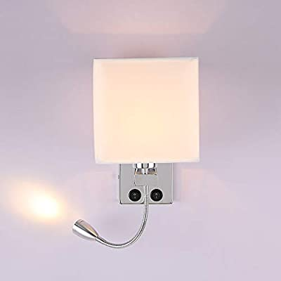 [Lámpara de noche de pared 2 en 1] == 2 interruptores de encendido / apagado como lámpara de pared de lectura de cabecera, diseño tradicional y moderno, perfecto para uso en el dormitorio. El tipo con puerto USB es conveniente para cargar cuando nece...