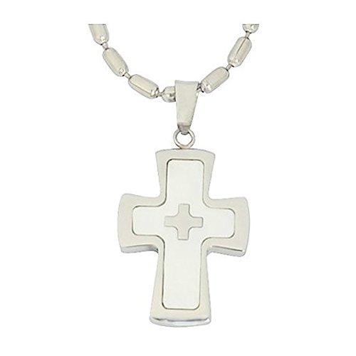 DonDon 55 cm Edelstahl Halskette mit Edelstahl Perlmutt Optik Kreuz Anhänger in schwarzem Samtbeutel