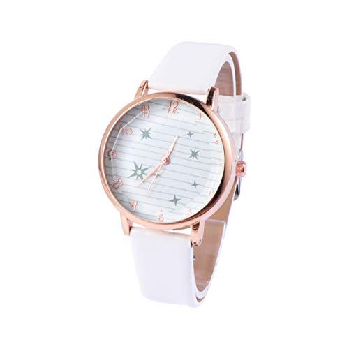 Reloj de pulsera para mujer de Hemelbllo, con correa de piel, diseño de estrella, color blanco