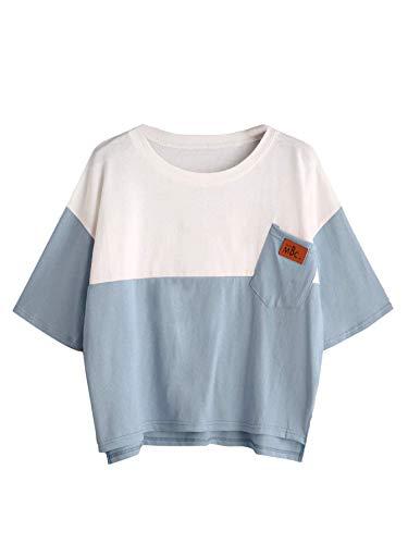SweatyRocks Women's Color Block Half Sleeve High Low Casual Loose T-Shirt Tops Blue White Medium