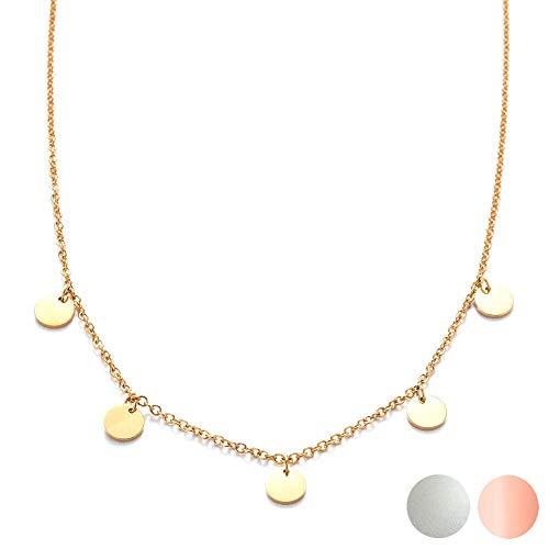 Kim Johanson Edelstahl Damen Halskette *Coins* in Silber, Gold & Roségold mit 5 runden Plättchen Boho Schmuck Kette verstellbar inkl. Schmuckbeutel (Gold)