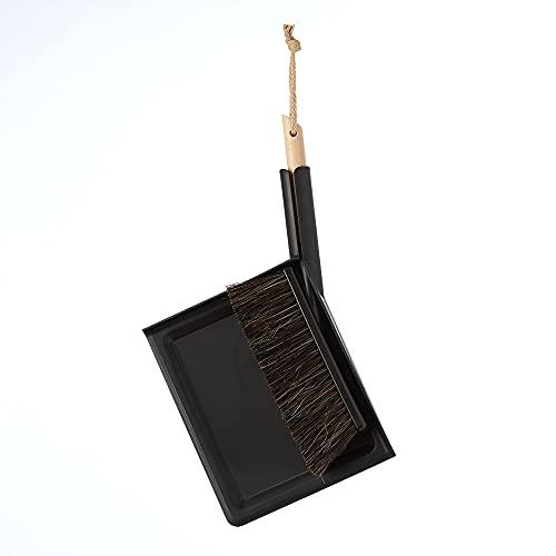 wilma nature Besen & Schaufel   modernes & praktisches Design   FSC-Holz, Rosshaar Borsten, Kunststoff  Farbe: Schwarz