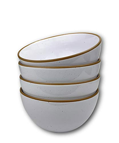 Mora Ceramic Bowls, 28oz - Set of 4 - For Cereal, Salad, Pasta, Soup, Dessert, Serving etc - Dishwasher, Microwave, and Oven Safe - Small Kitchen, Breakfast, Lunch and Dinner Approved - Vanilla