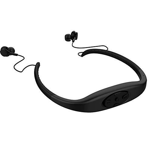 8GB Speicher Wasserdichter Sport MP3 Musik Player Stereo Audio Kopfhörer Bluetooth Headset Unterwasserhalsband Schwimmen Tauchen Mit FM Radio Headset (Schwarz)