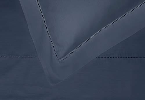 NORA HOME Juego de Sabanas Liso Punto Abierto con Vainica 100% Algodon Saten Mercerizado de 300 Hilos (Azul Navy, Cama 150/160 cm)