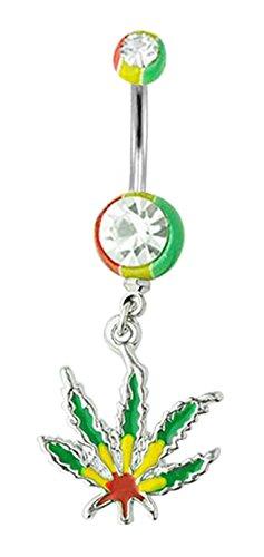 Rasta Color Pot Leaf Cannibus Marijuana Dangle Belly button navel ring piercing bar body jewelry 14g