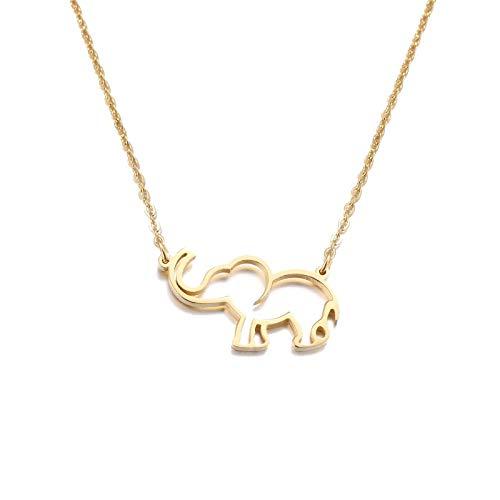 DYKJ Collar de Acero Inoxidable para Mujer Amante de Origami Elefante Collares Pendientes para Mujer joyería gótica Collares de Moda