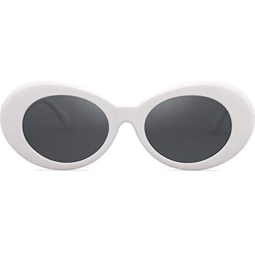 SojoS SojoS Clout Goggles Ovale Mod Retro Vintage Kurt Cobain Inspiriert Sonnenbrille Runde Linse SJ2039 mit Weiß Rahmen/Grau Linse