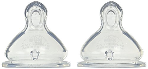 NUK Wide Neck Silicone Nipple, Medium Flow, Size 1, 2-Count (1 Package)