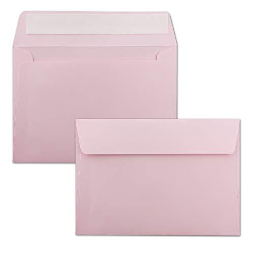 50x Briefumschläge Rosa DIN C6 Format 11,4 x 16,2 cm - Haftklebung - Kuverts ohne Fenster - Weihnachten, Grußkarten & Einladungen - Für A6 & A4 Papier