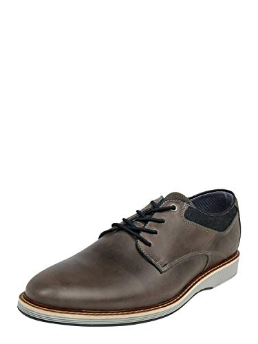 BULLBOXER Herren Schnürhalbschuhe, Männer sportlicher Schnürer, strassenschuh Sneaker schnürer schnürung freizeitschuh robust,Grey,46 EU / 11 UK