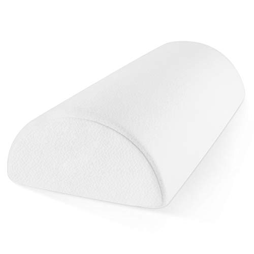 Zen Bamboo Memory Foam Half-Moon Bolster for Back and Knee Pain Relief - Wedge Pillow Provides Ultimate Support for Side and Back Sleepers - Semi Roll Pillow, Ultra-Soft, Washable Bamboo Blend Cover