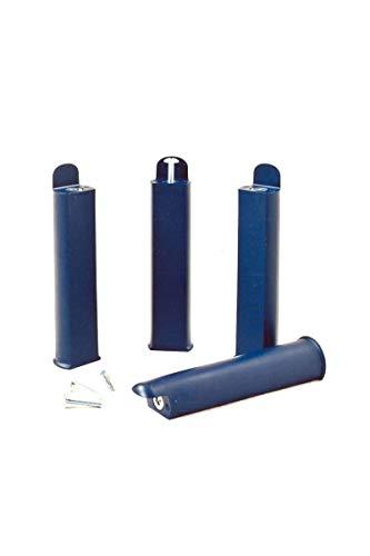 4 Pieds de lit Hauteur 22cm bleus polypropylène