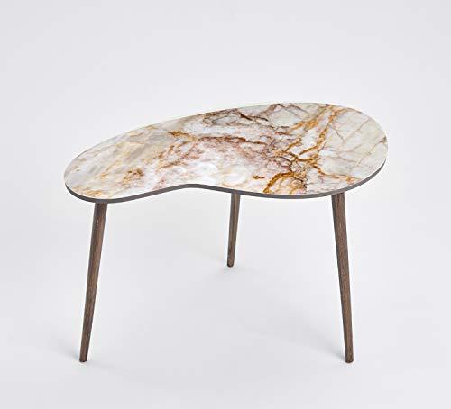 Queence Design-Tisch/Beistelltisch/Couchtisch/Retro Design/Nierenform/Coffee Table Tisch/Nierentisch/Telefontisch/Größe: 60x40, Farbe:Marmor