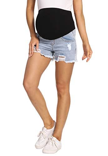 Kegiani Pantalones cortos de premamá para mujer, pantalones vaqueros cortos de maternidad, pantalones cortos con banda para el vientre para verano, 01#Bleach Blue, M