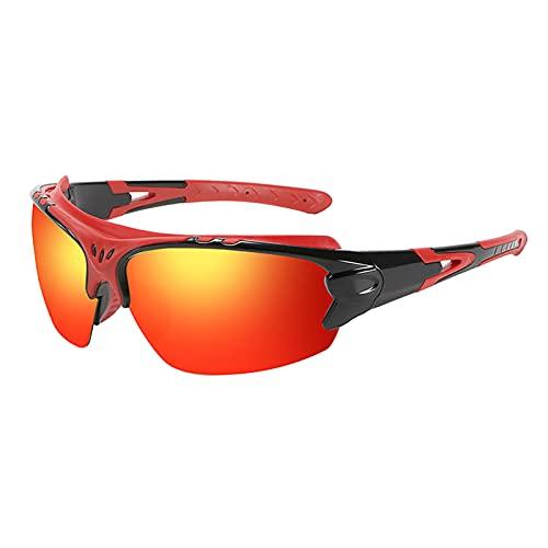 GUIH Gafas de ciclismo polarizadas deportivas,Gafas de sol para hombres y mujeres,Protección UV gafas de sol de ciclismo al aire libre rojo