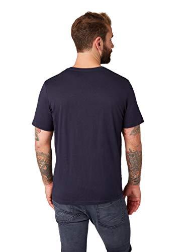 TOM TAILOR Herren T-Shirts/Tops T-Shirt mit Logo-Print Knitted Navy,L