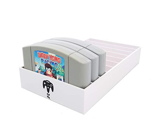 Collector Craft White Game Organizer Compatible with N64 Cartridge, Dust Cover, Cartridge Holder, Nintendo 64