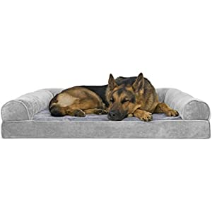 Furhaven Pet Dog Bed – Orthopedic Faux Fur and Velvet Traditional Sofa-Style Living Room Couch Pet Bed with Removable Cover for Dogs and Cats, Smoke Gray, Jumbo