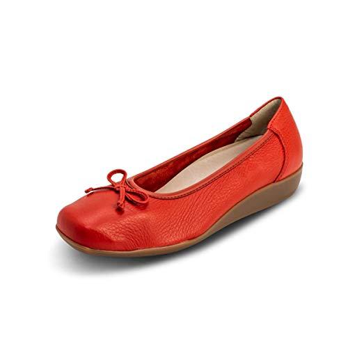 VITAFORM® Damen Ballerina Echt Leder - Spezielle Dämpfung Für Gelenk Schonung 100% Hirschleder (Grapefruit, Numeric_40)
