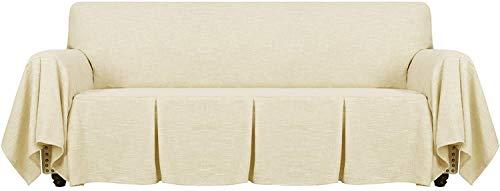 Funda De Sofá De Lino De 1 Pieza Fundas De Sofá Universales para Sofá De 2 Cojines Funda para Sala De Estar Funda Protectora para Muebles con Volantes (Light Yellow,4 plazas(230-280 cm))