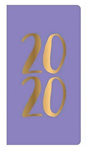 Terminplaner 2020, Wochenansicht, schmal, mit goldfarbenem Einband, Violett
