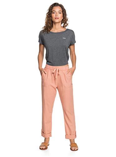Roxy Damen Non-Denim Pants On The Seashore - Elastische Leinen-Hose für Frauen, Cafe Creme, L, ERJNP03294