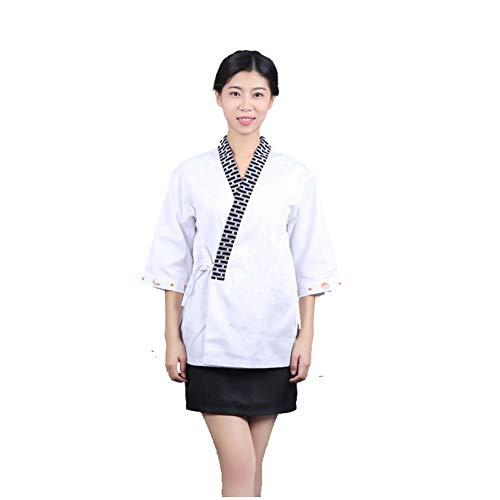 Jolie Cocinero Uniformes Kimono Chef Coat para los Hombres Manga Corta Sushi japonés Chaqueta Chef Ropa de Trabajo,L