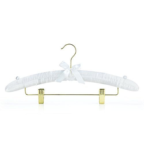 HANGERWORLD 43cm White Satin Padded Cushioned Coat Garment Dress Clothes Hanger Trouser Skirt Clips Buttons.