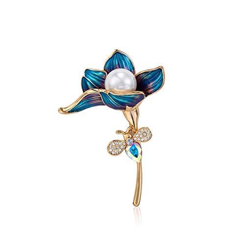 QTBH Brooch Pin Broche de Mujer 18k Chapado en Oro Esmalte de Flores Brooch Pins Elegant Ladies Accesorios de corsares Abrigo Coat Cheongsam (Peacock Azul) Broche para Mujer