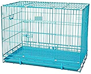 Double Door Folding Metal cage with Removable Tray and paw Protector for Dogs ,Cats and Rabbits 36 inch ( Blue ) - Central...