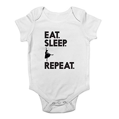 Promini Body pour bébé avec inscription « Eat Sleep » - Blanc - 9 mois