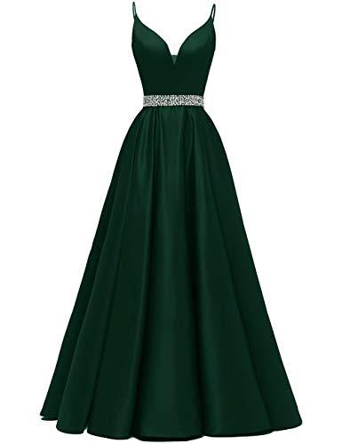 Abendkleider Lang A-Linie Ballkleid Brautkleid Prinzessin Cocktailkleid Satin V-Ausschnitt Partykleid Festkleider Dunkel grün 36