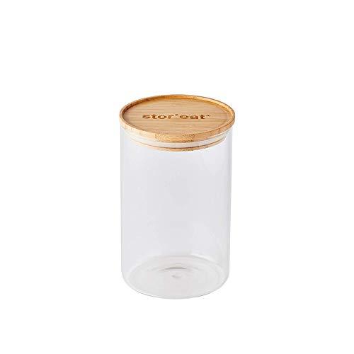 mastrad - Bocal De Stockage - Connecté Stor'Eat - Verre Borosilicate Résistant - Protège de l'Humidité - Couvercle Hermétique - Coloris Bambou - Sans BPA - 1300 ml