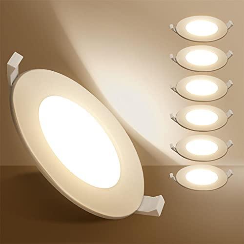 Aigostar Ojos de buey de led, 9W equivalente 45W, Downlight Led Techo, Luz blanca cálida 3000K, Foco leempotrable LED techo, Φ100-110mm, 6 pack [Clase de eficiencia energética A+]