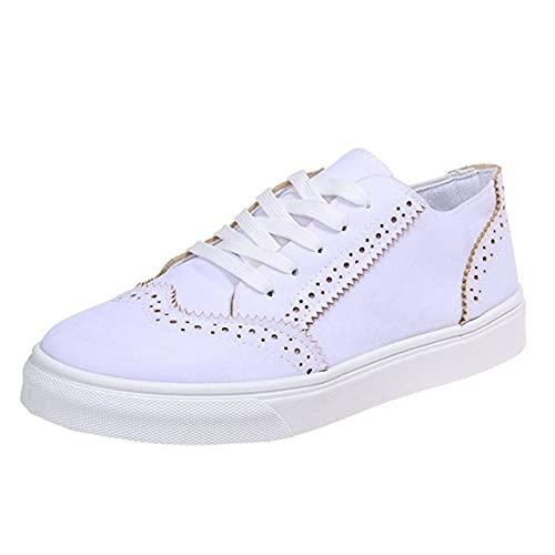 Cuero para Mujer Zapatillas Bajas Deporte Sin Cordones Zapatillas Deportivas Informales con Punta Redonda para Mujer Zapatillas Planas para Correr Suela Goma Cómoda,Blanco,38