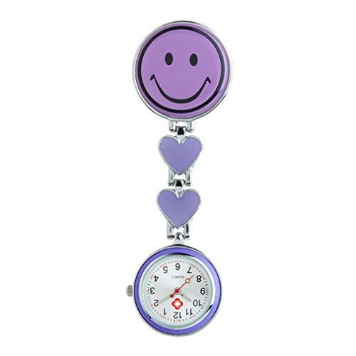 emall supply Violett Lächeln Gesicht Krankenschwester Clip-on Fob Taschenuhr Medizinische Tunika Revers Beobachten Quarz Aufhängen Taschenuhr zum Krankenhaus Ärzte Stilluhr von SamGreatWorld