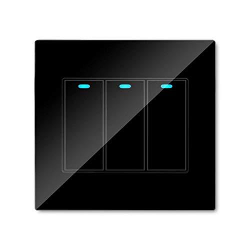 Libre ligero del LED Haga clic en Cambiar control 1/2/3 / 4Gang táctil de pared Interruptor templado panel de cristal (Style: : #3)