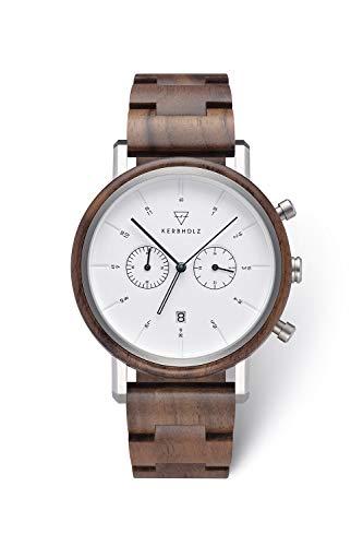 KERBHOLZ Holzuhr – Classics Collection Johann Quarz Uhr, Chronograph für Herren, Gehäuse und verstellbares Armband aus massivem Naturholz, Ø 45mm, Walnuss Silber Weiß