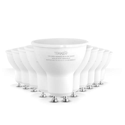 TEKKER Bombillas LED GU10 Premium – [10 unidades] – [3000 K] – [5 W] y [400 lm] – [15.000 h] – [180 – 250 V] – [Clase energética A+] – Reemplazo para bombillas halógenas tradicionales (10)