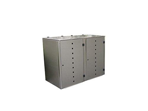Mülltonnenbox Edelstahl, Modell Eleganza Quad7, 240 Liter als Zweierbox - 2