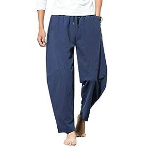 kiden パンツ メンズ サルエル アラジンパンツ リネン 大きいサイズ カジュアル ヒップホップ 九分丈 ワイドパンツ 無地 オールシーズン対応 ズボン ゆったり 通気性 藏青 L